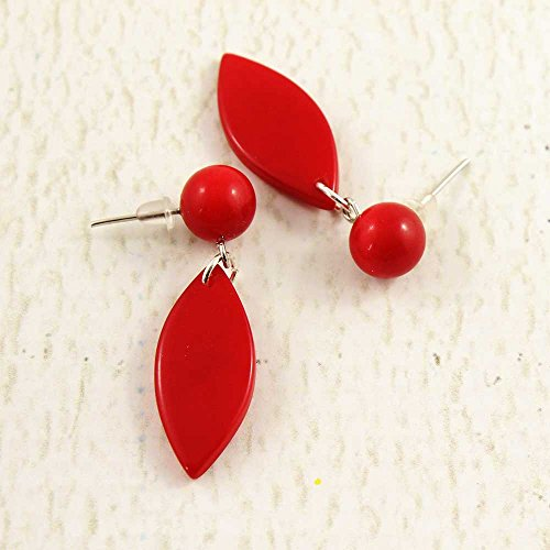 Red Earrings of Tagua Nut, Fair Trade Eco Friendly (Fair Trade Nut)