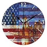 SLHFPX Wall Clock American Flag New York City Silent Non Ticking Decorative Round Digital Clocks for Home/Office/School Clock