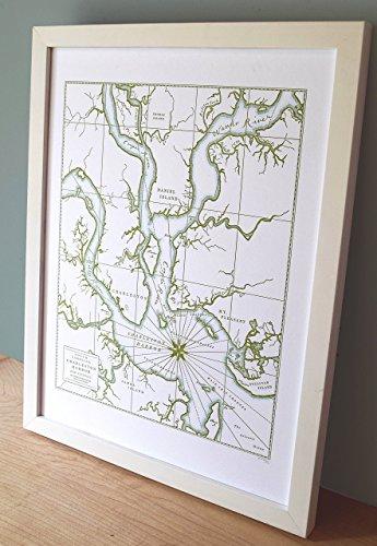 Charleston South Carolina, Letterpress Map Unframed Print