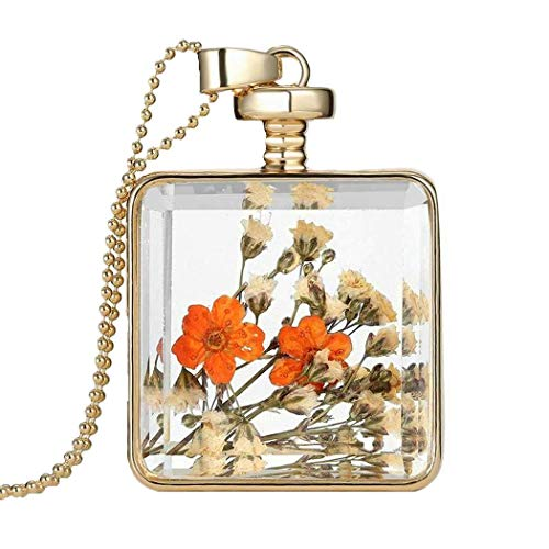 Gijoki Women Dried Flower Glass Square Perfume Bottle Pendant Necklace Pendants