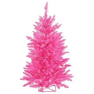 Vickerman Hot Pink Christmas Tree with 35 Pink Mini Lights, 2-Feet