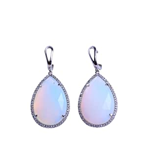 Bling Jewelry Synthetic White Teardrop Dangle Earrings with Micro CZ Pave