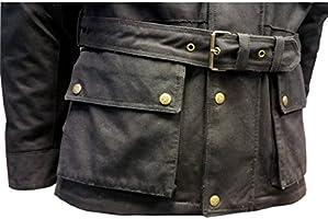 ATL® - Chaqueta con protecciones de algodón encerado para hombres de motocicleta, algodón, cera moto, con forro de algodón, con forro impermeable.: Amazon.es: Coche y moto