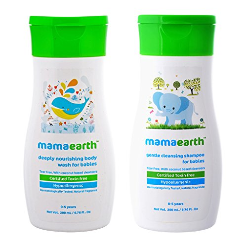 Pack of 2, Gentle Cleansing Baby Shampoo -200ml with Mamaearth Deeply Nourishing Baby wash-200ml-Age Group (0-5 Yrs)