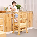 UNICOO- Height Adjustable Kids Learning Stool, Kids Kitchen Step Stool, Toddler Stool with Safety Rail-Solid Hardwood Construction. Perfect for Toddlers (Burlywood-02)