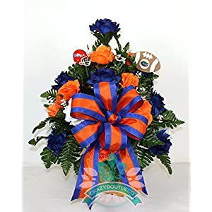 Florida Gators Fan Cemetery Vase Arrangement featuring Orange, White Roses 13