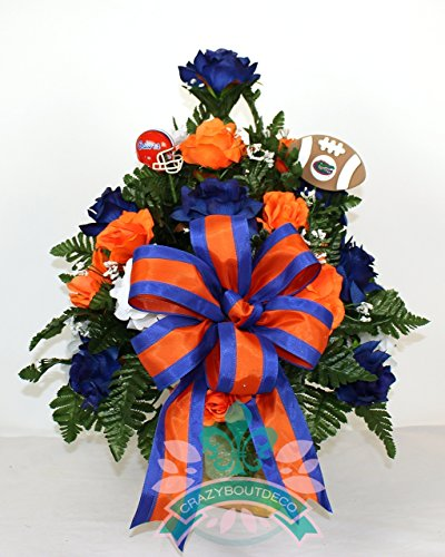 Florida Gators Fan Cemetery Vase Arrangement featuring Orange, White Roses by Crazyboutdeco Deco Mesh Wreaths,Cemetery Arrangements (Image #1)