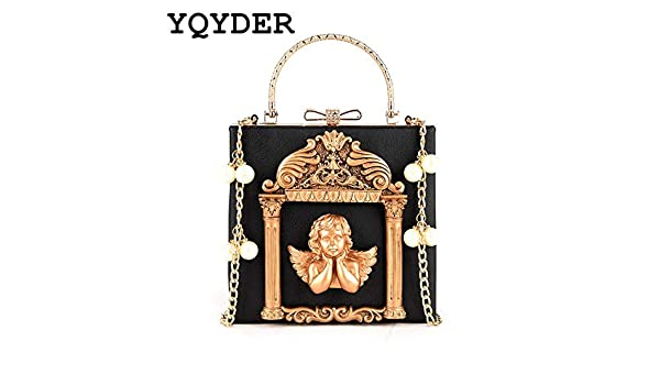 Amazon.com: Metal Beading Women Tote Bag Baroque Angel Mini Handbags Luxury PU Leather Shoulder Bags Vintage Chains Messenger Bag Sac A Main: Home & Kitchen