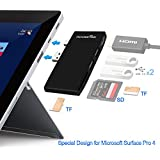 Microsoft Surface Pro 4 Card Reader, Rocketek Memory Card Reader SD/Micro SD Card Slots, USB 3.0 Hub Adapter Combo Build-in Mini DP to HDMI Adapter