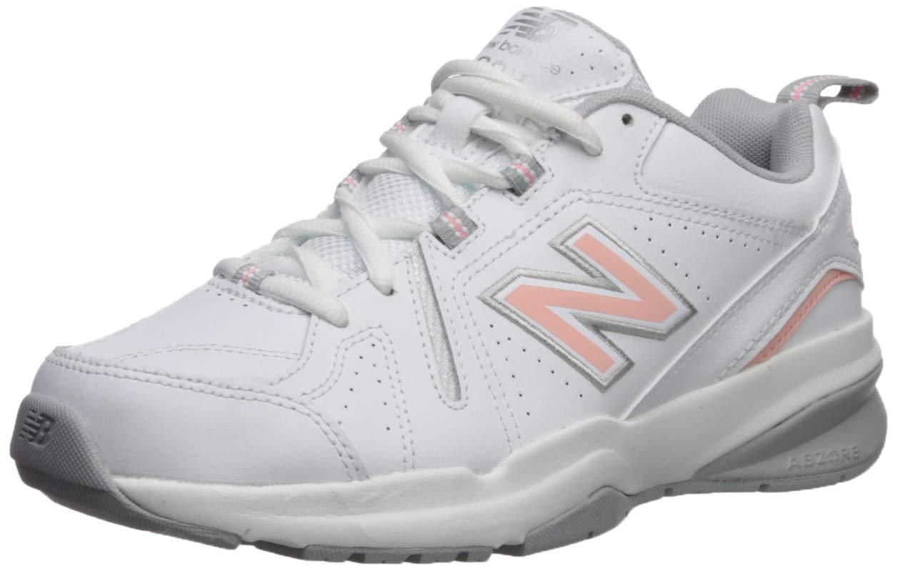 New Balance Women's 608v5 Casual Comfort Cross Trainer, White/Pink, 5 B US