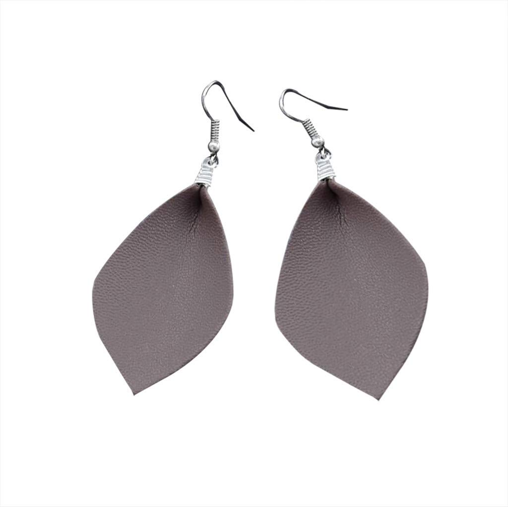 Clearance! Hot Sale! ❤ Spring Summer Leaf Leather Teardrop Bohemian Drop Earrings Trendy Jewelry Under 5 Dollars Valentine's Day Gifts for Girlfriend 2019 New