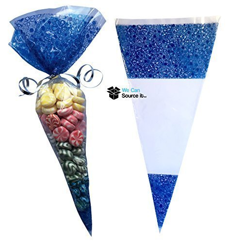 50 Azul Cono Bolsas de Caramelos tamaño grande - CELOFÁN ...