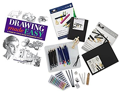 Mega Drawing Studio Learn Sketching Pack/Pencils/Eraser/Blenders/Pads/Posable Figure/Charcoal How to Draw Book Complete Sketch Art Set 67 pc Creative Bundle