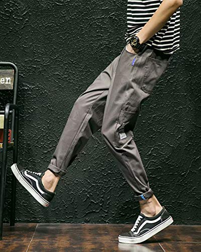 Cargo Running Slim De Gris Casual Fit Pantalons Pants Sport Chino Fitness Training Homme Automne qCxUIw8IA