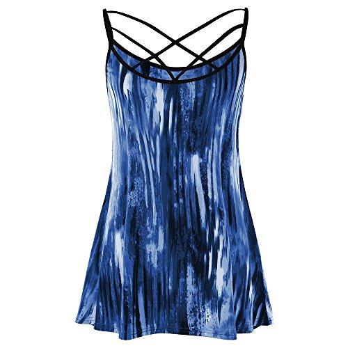 (JESPER Women Casual Tie Dye Bandage Lattice Front Tunic Camisole Spaghetti Strap Tank Top Navy Blue)