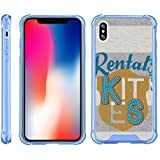 TurtleArmor | Compatible for Apple iPhone X Case | Apple iPhone 10 Case [Flexible Armor] Slim Shockproof Hard Bumper Cover Flexible TPU Case with Blue Edges - Crest Stripes