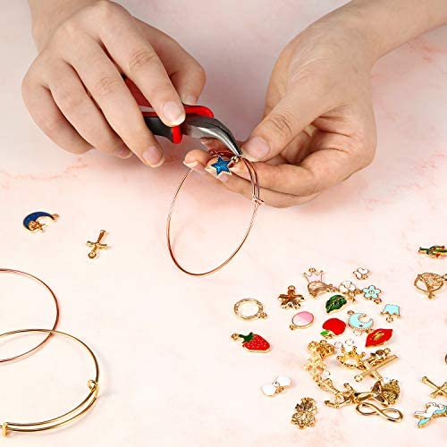 142 Pieces DIY Expandable Bangle Adjustable Wire Bracelets and Gold Charm Pendant Assorted Set with 200 Pieces Open Jump Rings for DIY Craft Jewelry Making Accessories