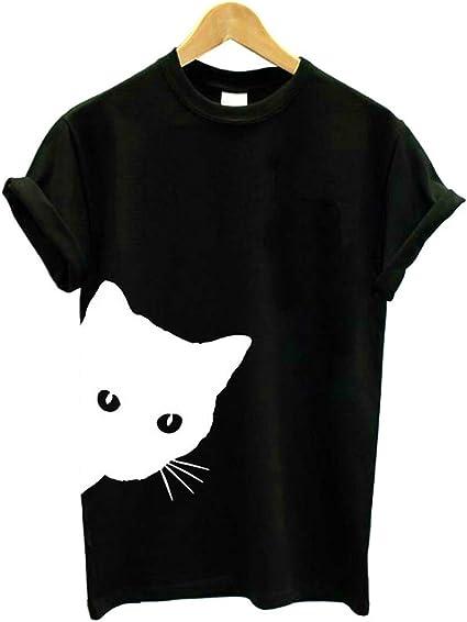 Camiseta Cat Print Cuello Redondo Manga Corta Delgada: Amazon.es: Ropa y accesorios