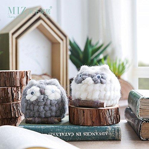 MIZ 1 Piece Animal Figure Toy for Children Crochet Owl Small Ornament for Home Decoration Handmade Accessories