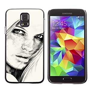 Licase Hard Protective Case Skin Cover for Samsung Galaxy S5 - Beautiful Girl B&W