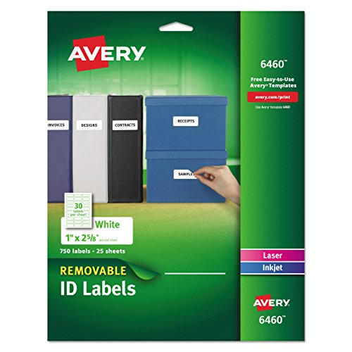 Removable Id Labels - Avery Removable 1 x 2 5/8 Inch White ID Labels 750 Count (6460)