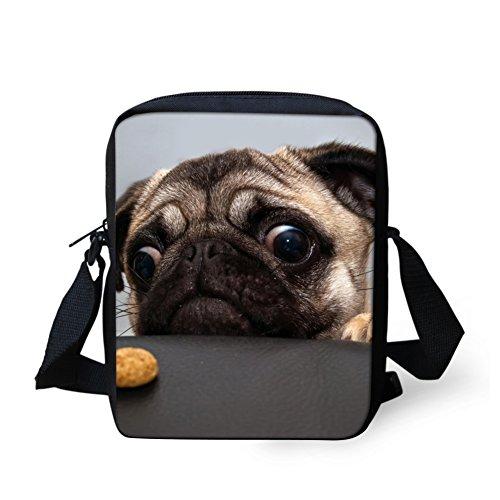- HUGS IDEA Pug Dog Print Small Shoulder Messenger Bags Crossbody Satchel Handbag