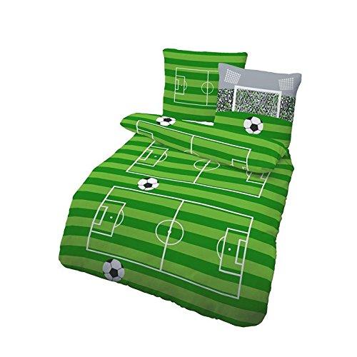 Bettwäsche Fußball 135 x 200 cm Biber 100% Baumwolle 2-teilig