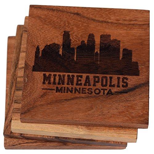 Minneapolis Minnesota Skyline Drink Coasters (Multiple Designs) - Engraved Acacia Wood Design - Set of Four