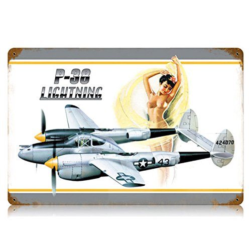 P 38 Lightning Nude Pinup Model Military Vintage Metal