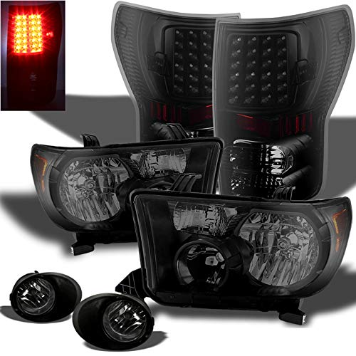 Xtune for 2007-2013 Toyota Tundra Double Cab/CrewMax Black Smoke Headlights + LED Tail Lights + Fog Lamps 2008 2009 2010 11 12