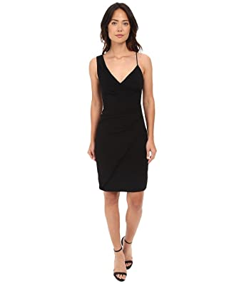 Nicole Miller Women S Satin Back Asymmetrical Cocktail Dress Black 2