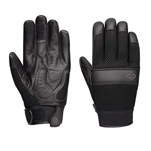 Harley-Davidson Official Men's Removable Pad Gloves, Black (Large)