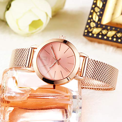 OLMECA Womens Watch Gilrls Watches Luxury Diamonds Waterproof Wristwatch Stainless Steel Milanese Band Pink Color