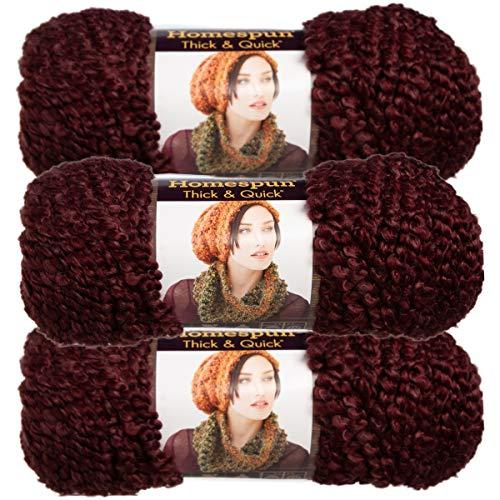 - Lion Brand (3 Pack) Homespun Thick & Quick Acrylic & Polyester Soft Garnet Purple Yarn for Knitting Crocheting Super Bulky #6