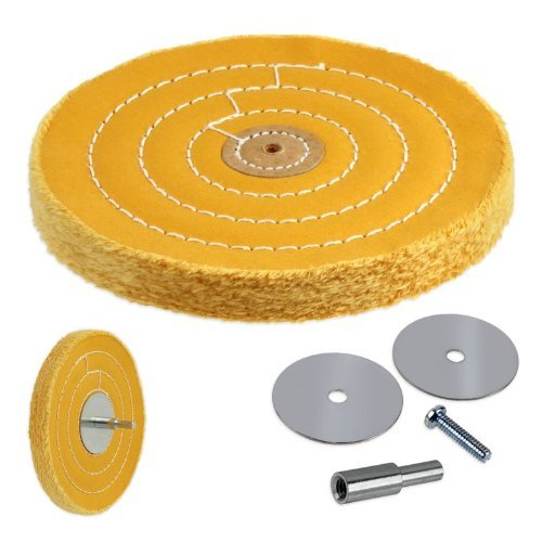 Arbor Canvas - 50-Ply 6-inch Heavyweight Stiff Cotton Canvas Buffing Wheel with Mandrel - Fits Drill, Die Grinder