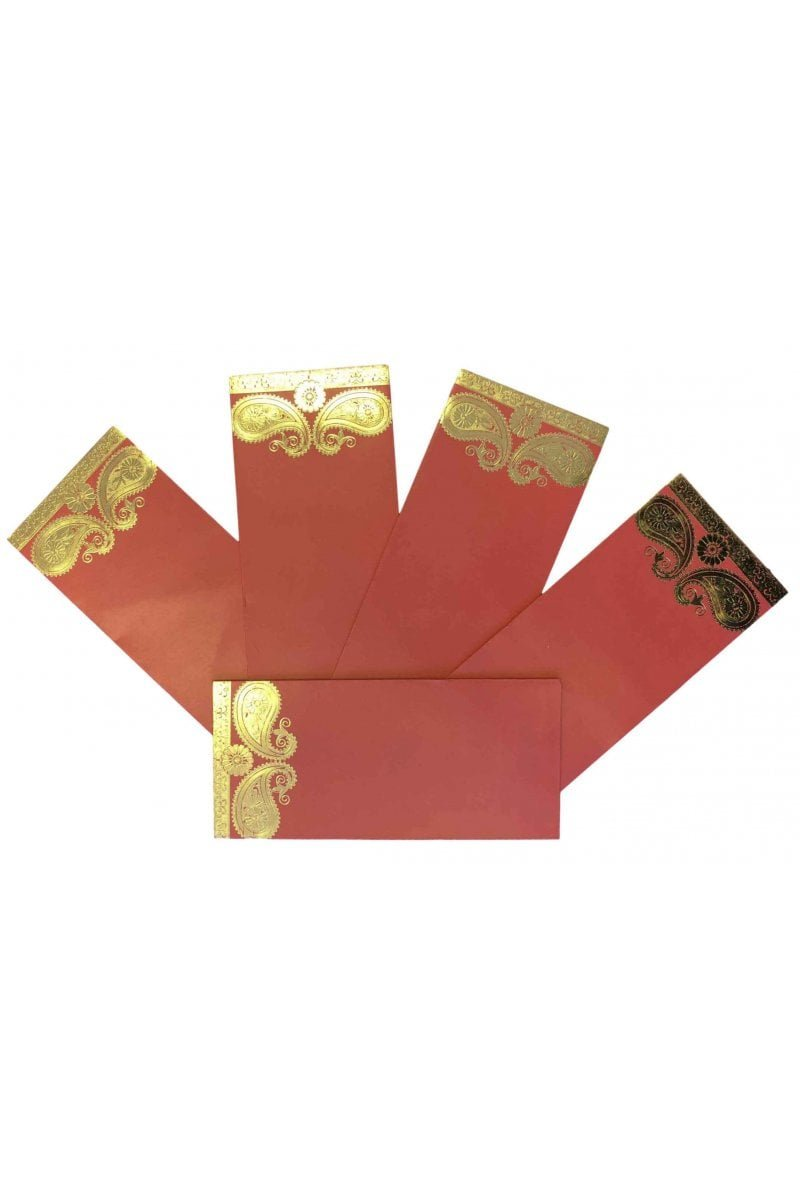 ENV168 Pack of 10 Red and Gold Mango/Keri money gift envelopes Indian Shagun Gift Designer Invitation Red Krishna Sarees