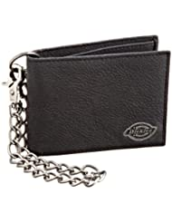 Dickies Men\'s Leather Slimfold Wallet With Chain,Black,One S...