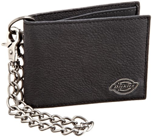 Dickies Mens Wallet with Chain - Security Bifold Truckers Classic Sim Thin Single Fold with ID ()