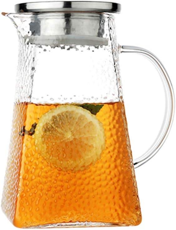 WENYAO Jarra de Vidrio de borosilicato Alto de 60.8 oz con manija integrada y Jarra con Tapa de Acero Inoxidable filtrable para Botellas Gruesas de Bebidas frías Calientes para té de Flores (Tamaño