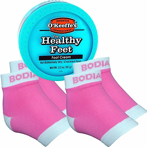 Bodiance Moisturizing Gel Heel Socks or Sleeves, 2 Pairs, Pink, Large, O'keeffe's Healthy Feet Foot Cream for Cracked Heels, Callus Treatment Bundle