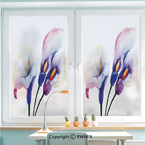 RWNFA No Glue Static Cling Glass Sticker Pale Lily Flowers Painting Close View to The Revival of The Spring Art Print Decorative,22.8