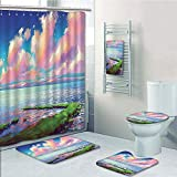 Bathroom 5 Piece Set Shower Curtain 3D Print Multi Style,Landscape,Sea After Mossy Rock Path Under Colorful Sky with Clouds Sunset,Green Blue Light and Pink,Bath Mat,Bathroom Carpet Rug,Non-Slip,Bath