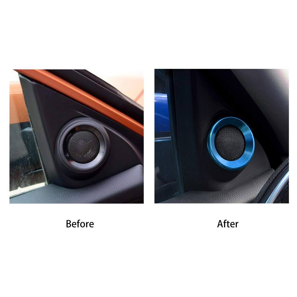 Thenice for 10th Gen Civic A-Pillar Loudspeaker Decorations Circle Rings, Anodized Aluminum Car Door Audio Speaker Trims for Honda Civic 2016 2017 2018 2019 (Light blue)