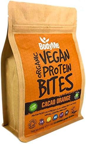 BodyMe Bio Vegane Protein Snacks Bisse | Roh Kakao Orange | 500g | 100 Bisse | Mit 3 Pflanze Proteine