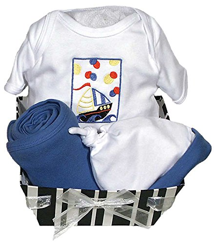 Raindrops Delightful Brights Sailboat Body Suit Gift Set, Royal Blue/Black, 3-6 Months, 4 Piece