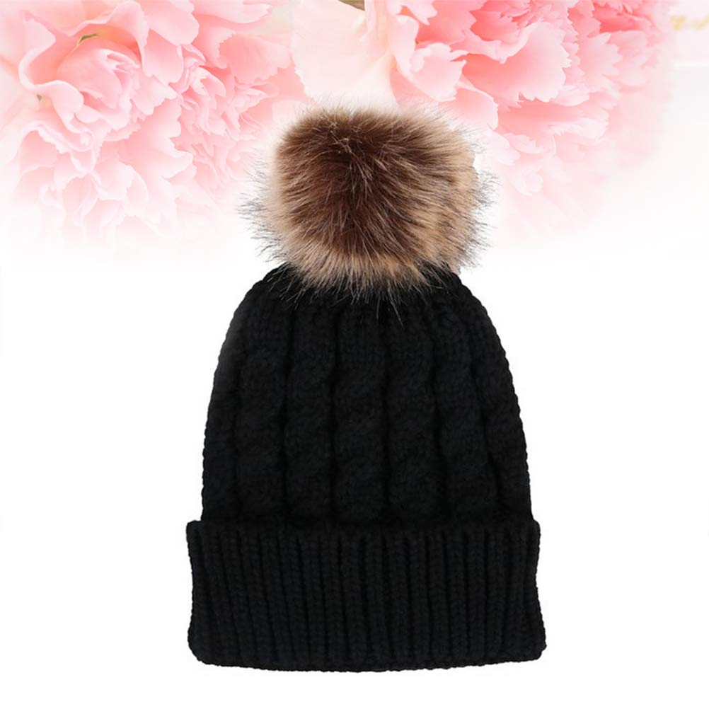 f26d95f3a Winter Knit Beanie Bobble Hat Cap with Single Pom Pom Cap for Women ...