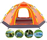 Wnnideo Instant Family Tent Automatic Pop Up Tents for Outdoor Sports Camping Hiking Travel Beach (Orange with Tarp)