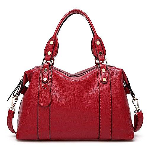 Mn&Sue Spacious Women Boston Pillow Bag Pebbled PU Leather Hobo Handbag Roomy Shoulder Satchel (Wine Red)