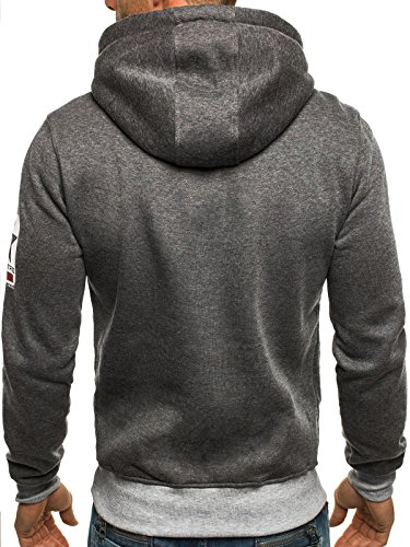 OZONEE Uomo Maglia Pullover Pullover con cappuccio Pullover Sportivi Stampa Fantasia J.STYLE J33 - grigio scuro, L