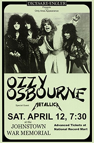 Black Sabbath Ozzy Osbourne with Metallica Live 1986 Retro Art Print — Poster Size — Print of Retro Concert Poster — Features Tony Iommi, Geezer Butler and Ozzy (Concert Art)